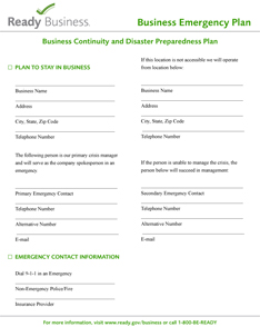 FEMA Business Continuity and Disaster Preparedness Plan
