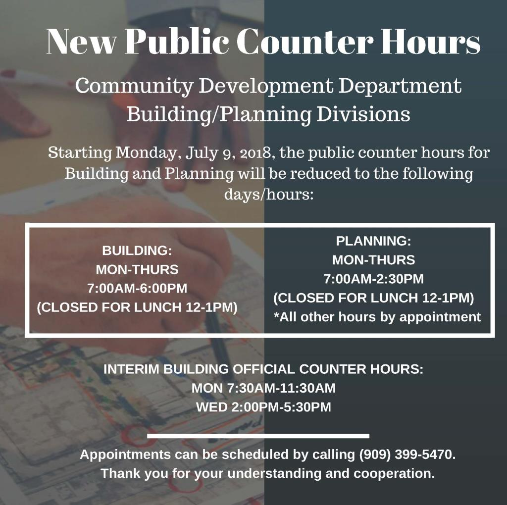 New Public Counter Hours Comm Dev